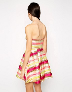 photo Stripe Metallic Bandeau Prom Dress by Lashes of London, color Multi - Image 2