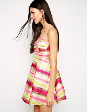 photo Stripe Metallic Bandeau Prom Dress by Lashes of London, color Multi - Image 1
