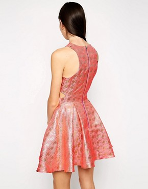 photo Geo Jacquard Prom Dress with Cross Front by Lashes of London, color Pink - Image 2