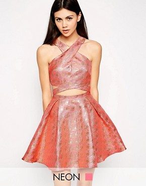 photo Geo Jacquard Prom Dress with Cross Front by Lashes of London, color Pink - Image 1