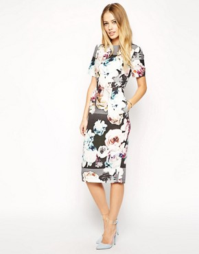 Wiggle Dress In Textured Photo Floral Print By Asos