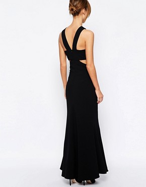 photo Daciana Cut Out V Neck Maxi Dress by Jarlo Petite, color Black - Image 2