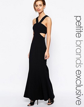 photo Daciana Cut Out V Neck Maxi Dress by Jarlo Petite, color Black - Image 1