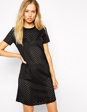 photo Perforated Dress with High Neck by Supertrash, color Black - Image 1