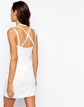 photo Roche Mini Dress with Cross Cami Straps by AQ AQ, color Cream - Image 2