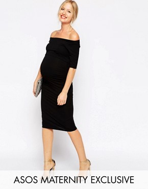 photo Bardot Dress with Half Sleeve by ASOS Maternity, color Black - Image 1