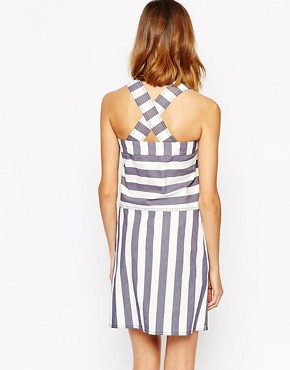 photo Pinafore Dress in Prison Stripe by See by Chloe, color Multi - Image 2