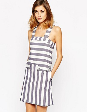 photo Pinafore Dress in Prison Stripe by See by Chloe, color Multi - Image 1