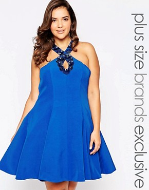 photo Embellished Halterneck Prom Dress by Forever Unique Plus, color Cobalt - Image 1
