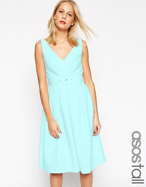 photo 50's Belted Prom Dress by ASOS TALL, color Blue - Image 1
