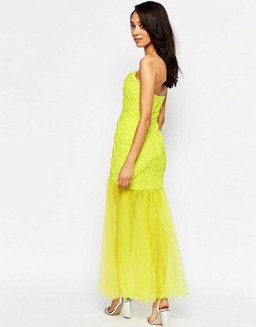 photo Felicity Bandeau Maxi Dress with Tulle Skirt by Jarlo Petite, color Lime - Image 2