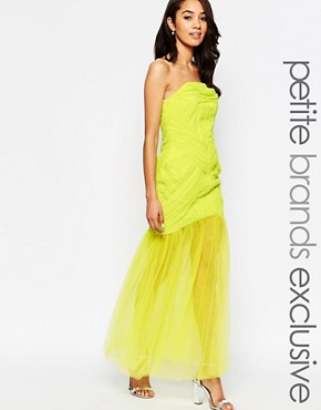 photo Felicity Bandeau Maxi Dress with Tulle Skirt by Jarlo Petite, color Lime - Image 1