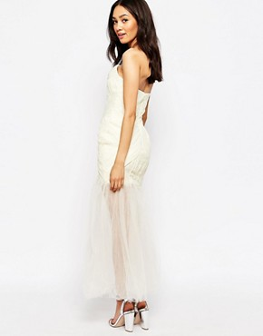 photo Felicity Bandeau Maxi Dress with Ruched Bodice and Tulle Skirt by Jarlo Petite, color Cream - Image 2