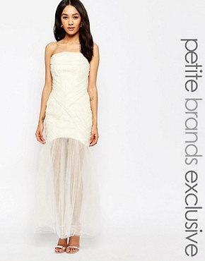 photo Felicity Bandeau Maxi Dress with Ruched Bodice and Tulle Skirt by Jarlo Petite, color Cream - Image 1