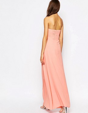 photo Claudia Ruched Bandeau Maxi Dress by Jarlo Tall, color Pink - Image 2