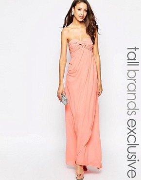 photo Claudia Ruched Bandeau Maxi Dress by Jarlo Tall, color Pink - Image 1