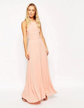 photo Maxi Dress with Tie Back by ASOS, color Blush - Image 1
