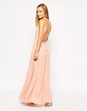 photo Maxi Dress with Tie Back by ASOS, color Blush - Image 2