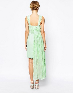 photo Forest High Neck Dress with Stepped Hem by VLabel London, color Mint Seafoam Print - Image 2
