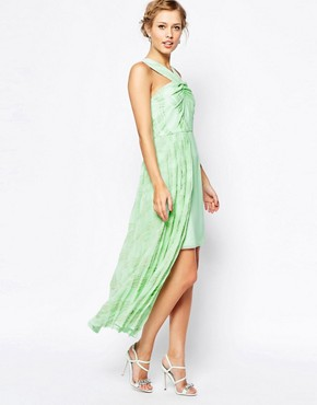 photo Forest High Neck Dress with Stepped Hem by VLabel London, color Mint Seafoam Print - Image 1
