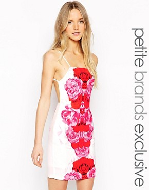 photo Red Bloom Mini Dress with Strappy Back by Tiger Mist Petite, color White - Image 1