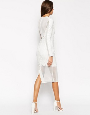 photo Lace Mesh Bodycon Dress by ASOS TALL PREMIUM, color White - Image 2