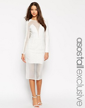 photo Lace Mesh Bodycon Dress by ASOS TALL PREMIUM, color White - Image 1