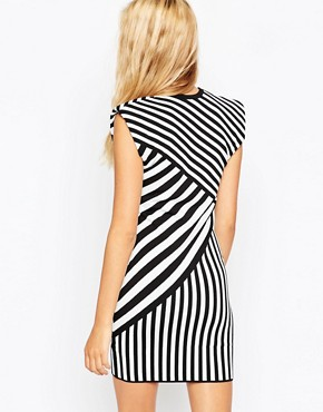 photo Dress in Structured Knit in Mono Stripe by ASOS SCULPT, color Mono - Image 2