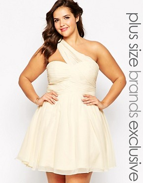photo One Shoulder Prom Dress by Forever Unique Plus, color Ivory - Image 1