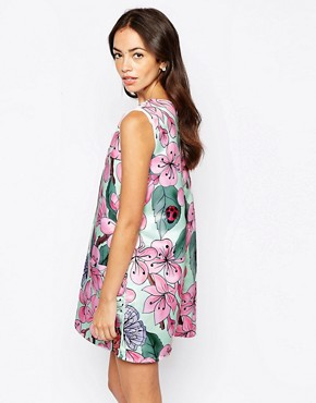 photo Pinafore Dress in Garden Floral Print by Mod Dolly, color Garden Floral - Image 2