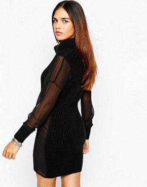 photo Chunky Roll Neck Jumper Dress with Sheer Sleeves by Tiger Mist Petite, color Black - Image 2