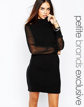 photo Chunky Roll Neck Jumper Dress with Sheer Sleeves by Tiger Mist Petite, color Black - Image 1