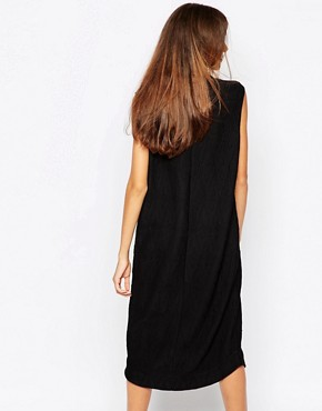photo Midi Dress in Texture with Deep Plunge by Ganni, color Black - Image 2