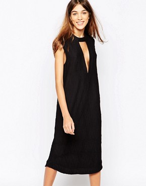 photo Midi Dress in Texture with Deep Plunge by Ganni, color Black - Image 1