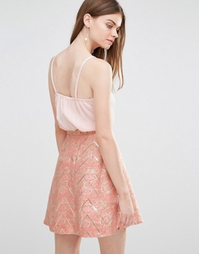 photo Skirt in Jacquard Print by Lashes of London, color Pink/Gold - Image 2