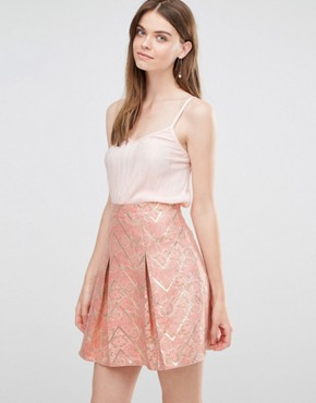 photo Skirt in Jacquard Print by Lashes of London, color Pink/Gold - Image 1