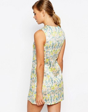 photo Aline Dress in Jacquard Metallic Print by Dahlia, color Multi - Image 2