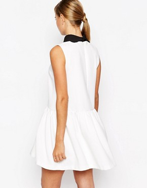 photo Drop Waist Dress with Removable Collar by Dahlia, color Cream - Image 2