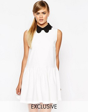 photo Drop Waist Dress with Removable Collar by Dahlia, color Cream - Image 1