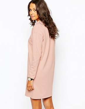 photo Organic Cotton Loopback Dress with High Neck by People Tree, color Nude Pink - Image 2