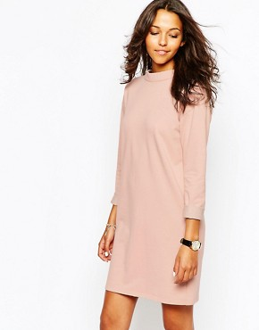 photo Organic Cotton Loopback Dress with High Neck by People Tree, color Nude Pink - Image 1