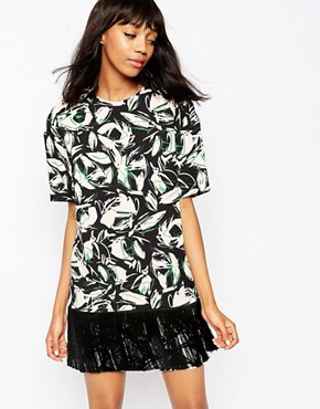 photo Pergola Dress in Leaf Print by Sportmax Code, color Pink - Image 1