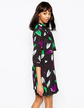 photo Peirak Dress in Leaf Print with Neck Tie by Sportmax Code, color Black - Image 2