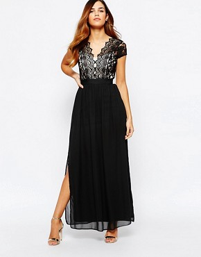 photo Scallop Lace Plunge Maxi Dress with Double Thigh Split by Elise Ryan, color Black - Image 1