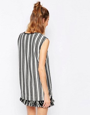 photo Aralda Dress in Stripe with Fringe Hem by Baum und Pferdgarten, color Ecru Black - Image 2