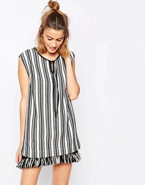 photo Aralda Dress in Stripe with Fringe Hem by Baum und Pferdgarten, color Ecru Black - Image 1