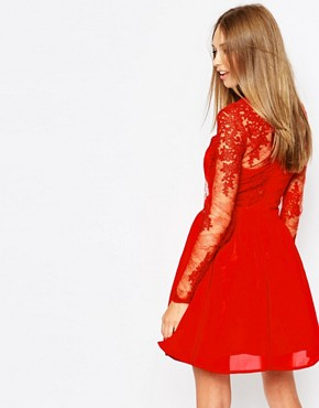 photo Lace Long Sleeve Skater Dress by Missguided Premium, color Red - Image 2