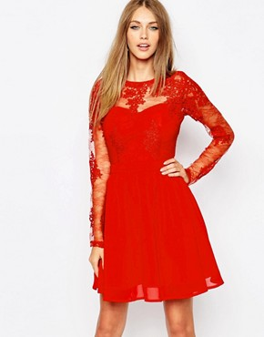 photo Lace Long Sleeve Skater Dress by Missguided Premium, color Red - Image 1