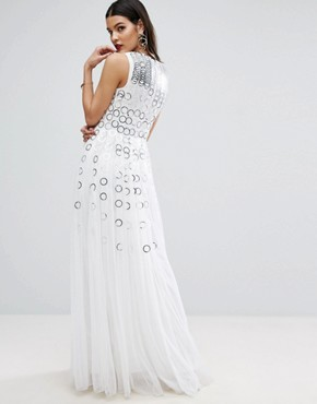 photo Mesh Fit and Flare Maxi Dress with Ring Detail by ASOS RED CARPET, color White - Image 2
