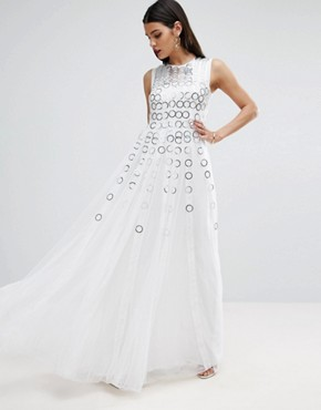 photo Mesh Fit and Flare Maxi Dress with Ring Detail by ASOS RED CARPET, color White - Image 1